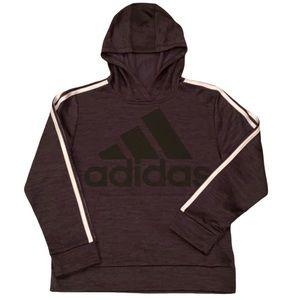 Adidas Boys Dark Gray Hoodie w/Sleeve Stripes M